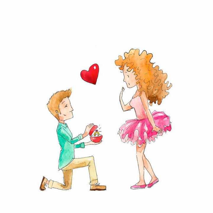 水彩画风格单膝下跪向女友求婚的男孩子png图片免抠矢量素材