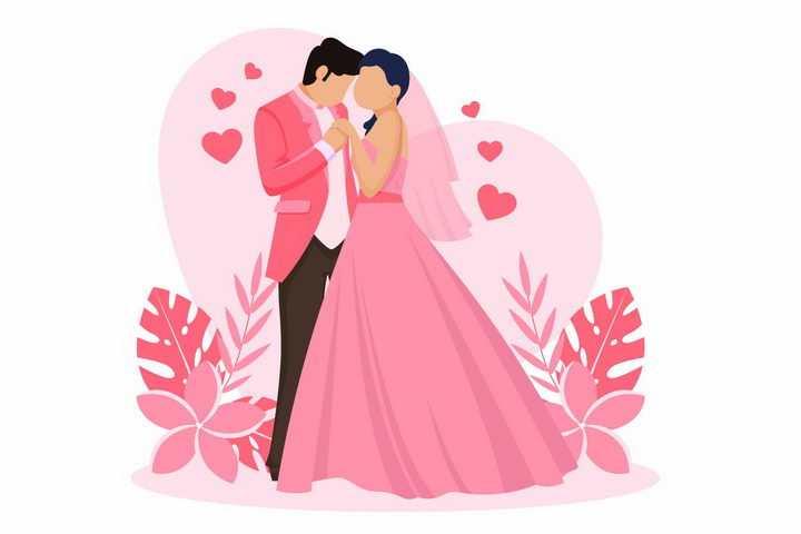 扁平化风格粉红婚纱和西装的结婚新娘新郎png图片免抠矢量素材