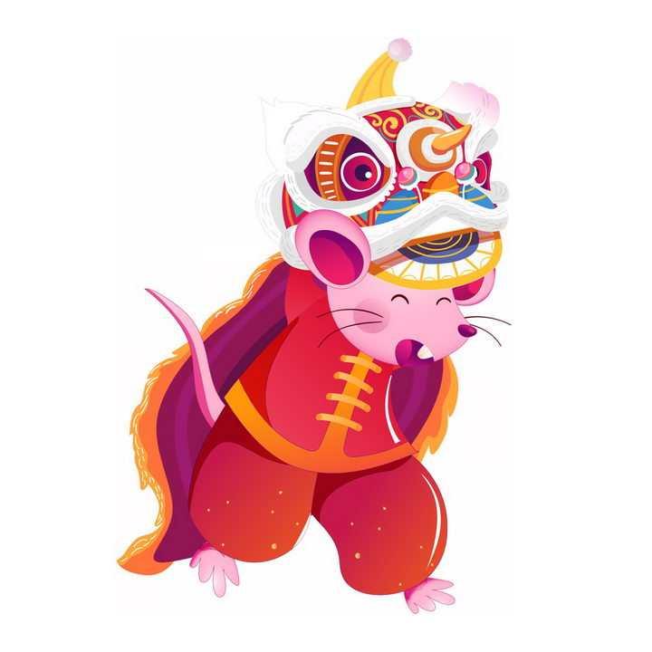 卡通鼠年新年春节舞狮子表演png图片免抠素材