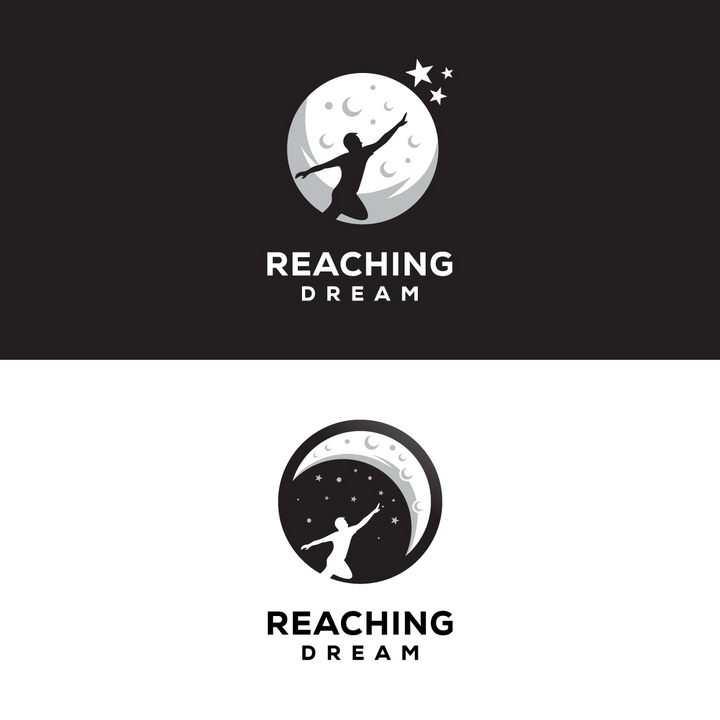 2款奔向月亮象征实现梦想logo设计方案png图片免抠eps矢量素材