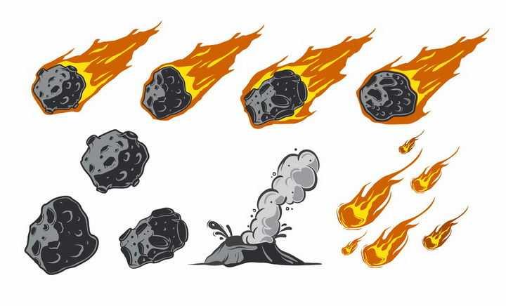 带着火焰的燃烧陨石火流星自然奇观png图片免抠矢量素材