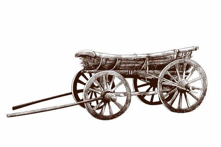 手绘素描风格复古的马车png图片免抠矢量素材