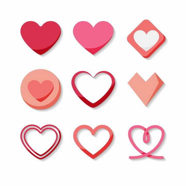 9款扁平化风格情人节心形红心符号图案png图片免抠eps矢量素材