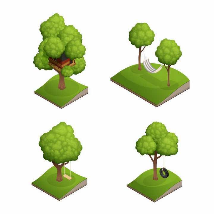 4款2.5D风格草坪上的大树和树屋秋千png图片免抠矢量素材