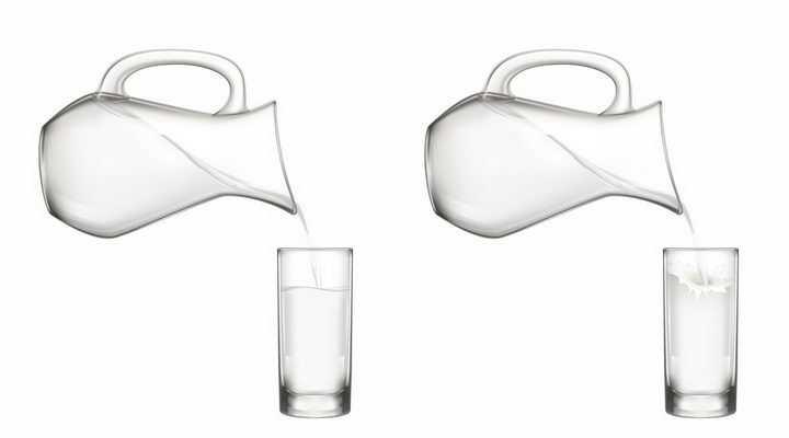 正在向玻璃水杯中倒水和倒牛奶png图片免抠矢量素材