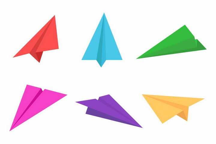 红色蓝色绿色粉色紫色黄色折纸飞机png图片免抠矢量素材