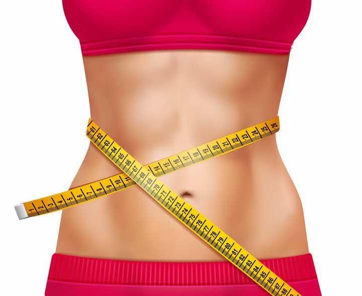 用卷尺正在测量腰围的红衣美女减肥效果配图png图片免抠矢量素材