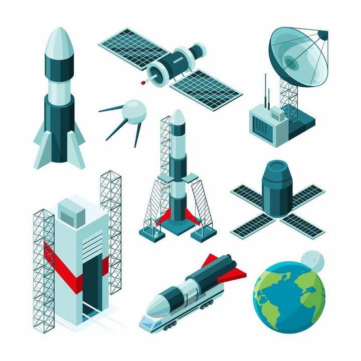 等待发射的火箭人造卫星火箭发射塔卫星接收站等航天png图片免抠eps矢量素材