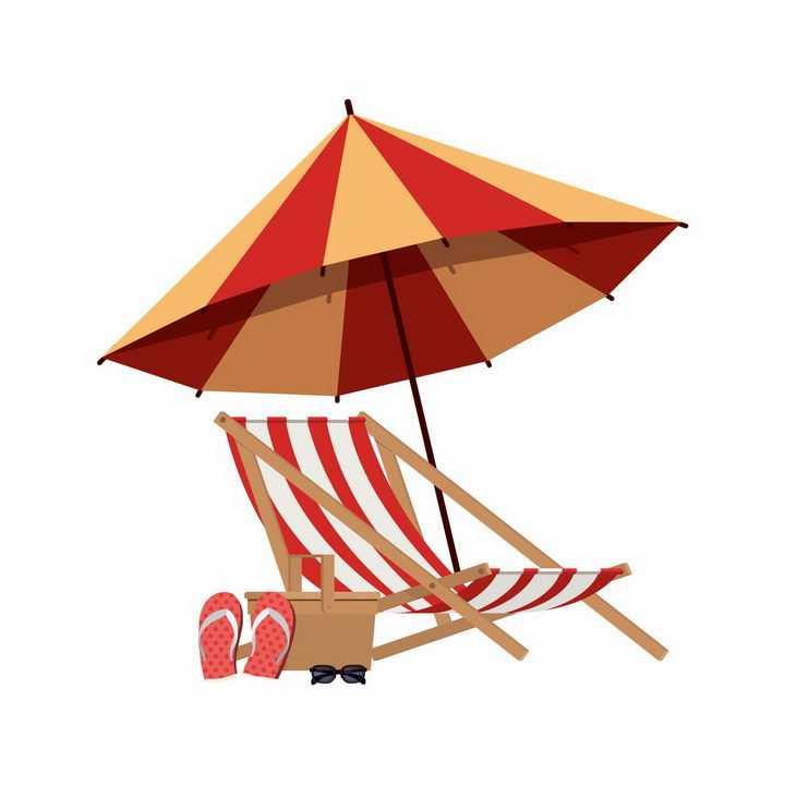 扁平化风格红色黄色相间的遮阳伞和沙滩躺椅沙滩鞋png图片免抠eps矢量素材
