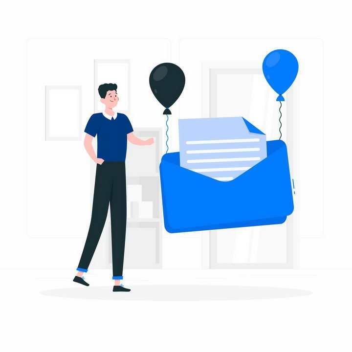 扁平插画风格年轻人用气球将邮件送走png图片免抠矢量素材