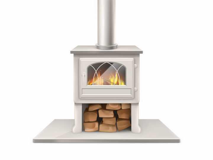 放满木头正在燃烧的壁炉png图片免抠矢量素材