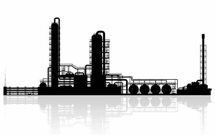 黑色的化工厂剪影及倒影png图片免抠矢量素材