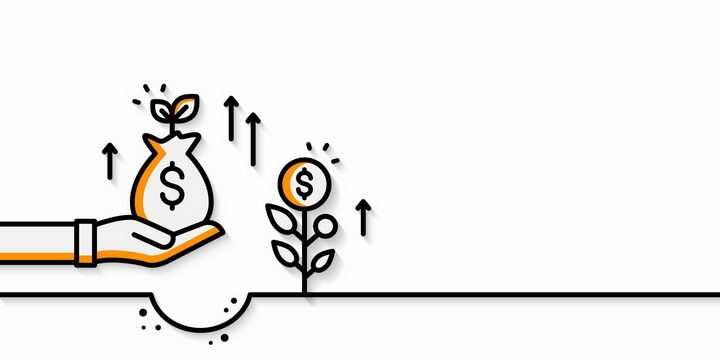 MBE风格线条将金钱种在地里可以收获金钱象征了投资与回报png图片免抠eps矢量素材