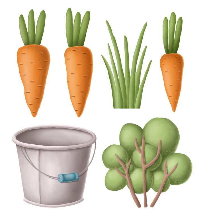 捏橡皮泥手工制作的胡萝卜水桶和树木作品图片设计模板素材