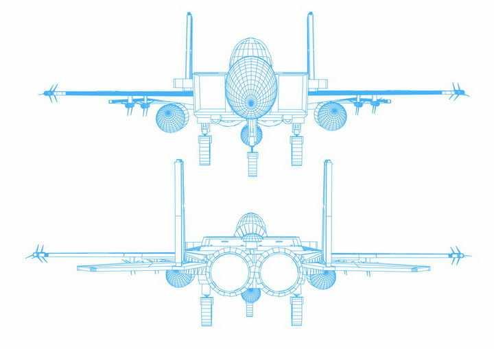 蓝色线条F15战斗机飞机设计蓝图png图片免抠矢量素材