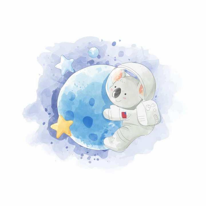 彩绘风格穿着宇航服趴在星球上的卡通考拉png图片免抠矢量素材