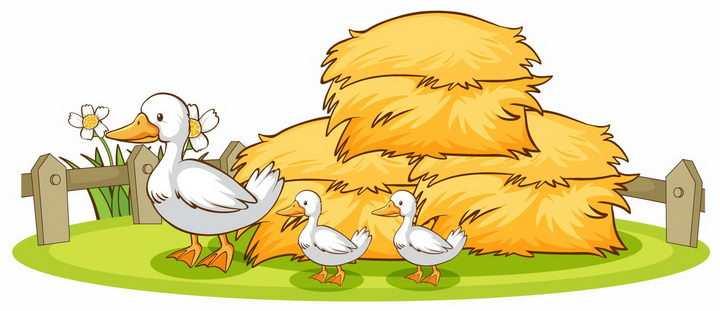 草垛下面的卡通鸭妈妈带着小鸭子在散步png图片免抠矢量素材