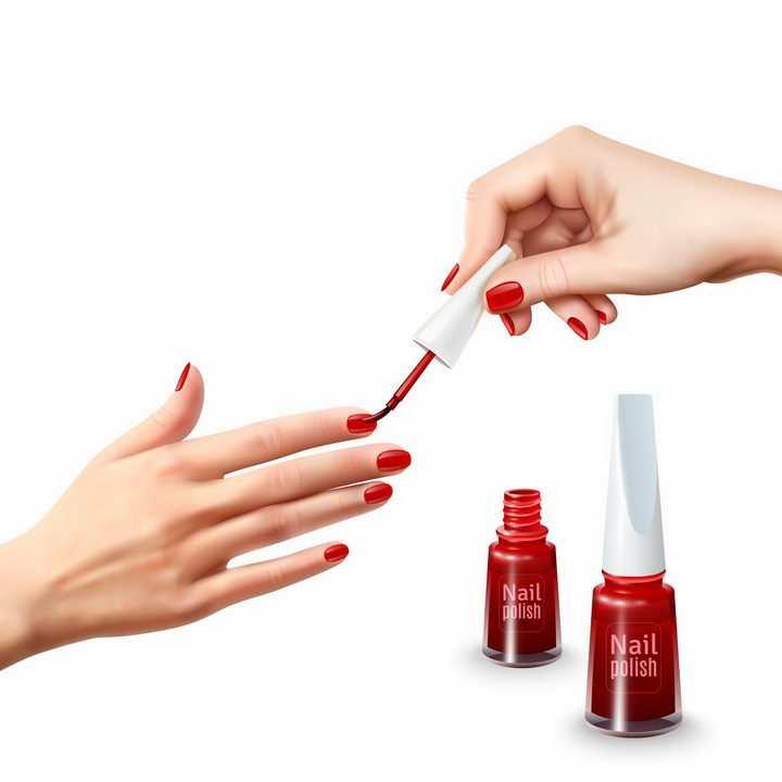 正在为手指涂上指甲油美甲化妆png图片免抠矢量素材