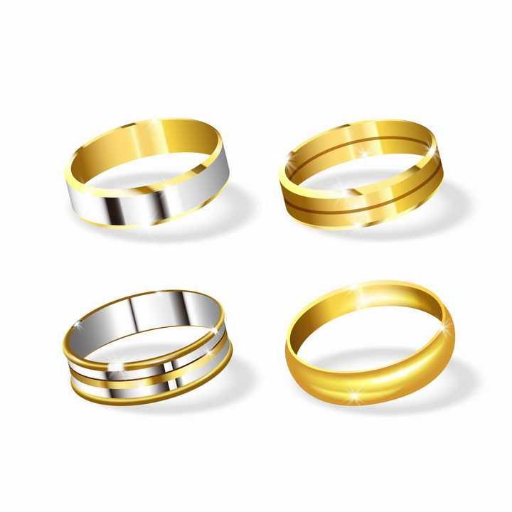 4款铂金戒指盒金戒指结婚戒指png图片免抠矢量素材