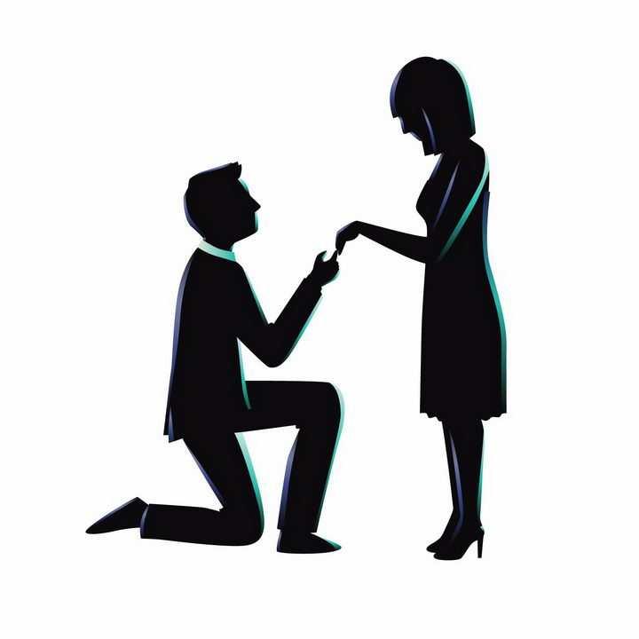 男人单膝下跪牵着女朋友的手求婚png图片免抠矢量素材