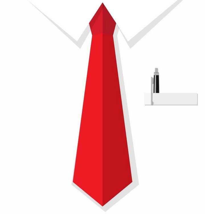 扁平化风格红色的领带西装革履装饰png图片免抠矢量素材