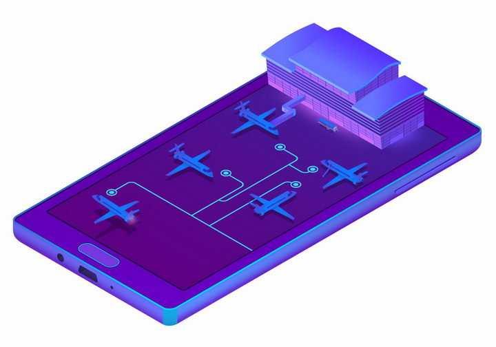 3D风格紫色手机上的飞机场png图片免抠矢量素材