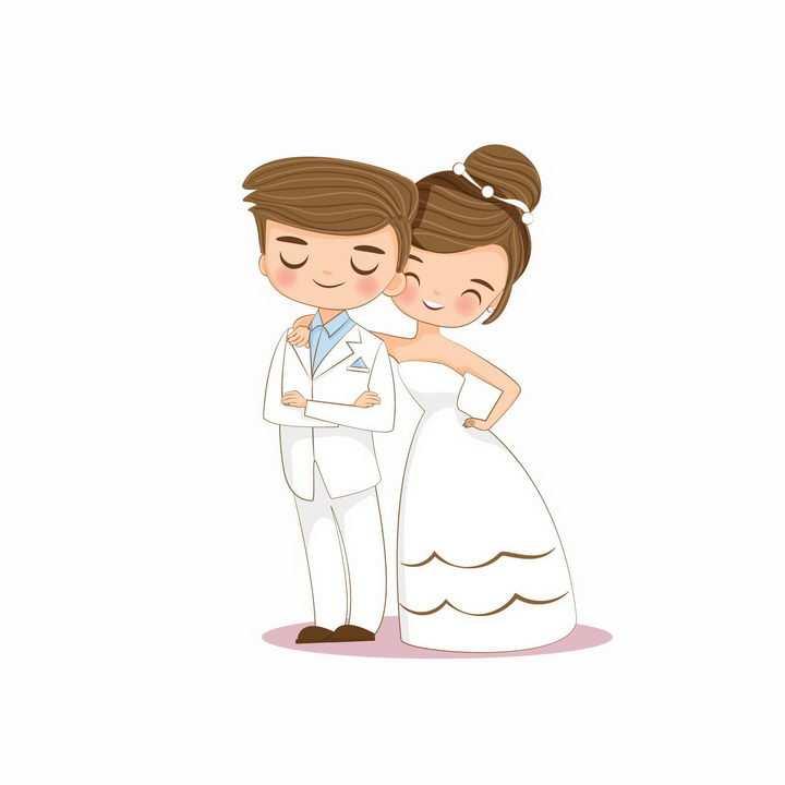 结婚拍婚纱照的卡通小夫妻png图片免抠矢量素材