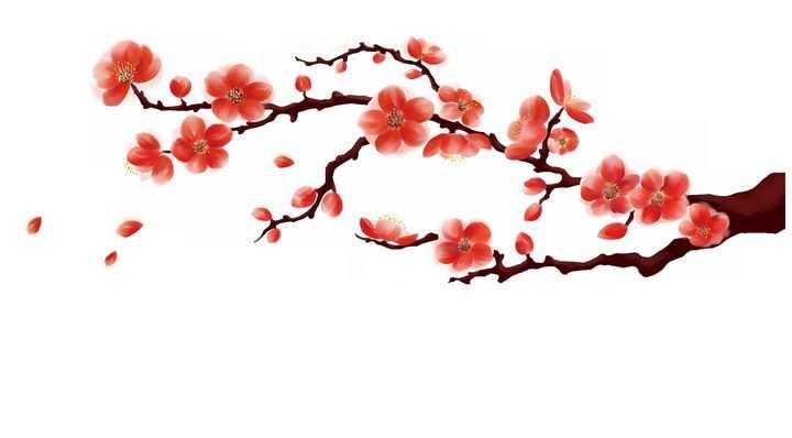 中国画风格枝头的红色桃花png图片免抠素材