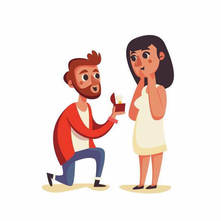 卡通风格男人拿着戒指向女朋友求婚结婚png图片免抠矢量素材