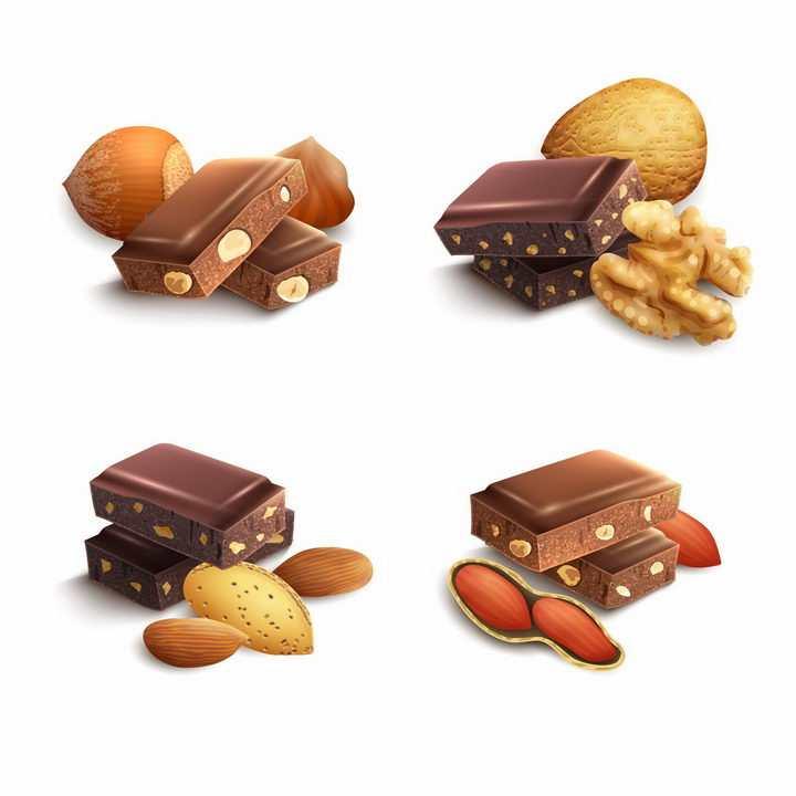 松果核桃巴旦木花生巧克力美味零食png图片免抠eps矢量素材