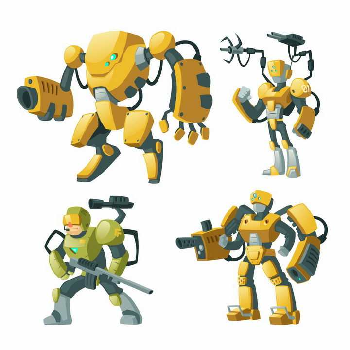 4款卡通漫画风格黄色的武装战斗机器人图片png免抠素材