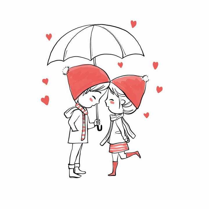 戴着小红帽的情侣在雨伞下秀恩爱情人节png图片免抠eps矢量素材