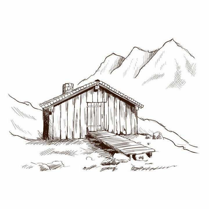 手绘素描风格大山里的小木屋风景图png图片免抠矢量素材