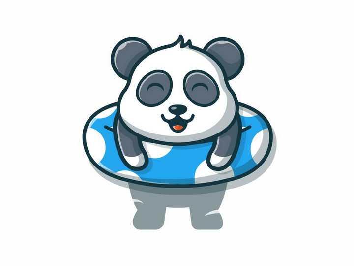 趴在游泳圈上的卡通熊猫png图片免抠矢量素材