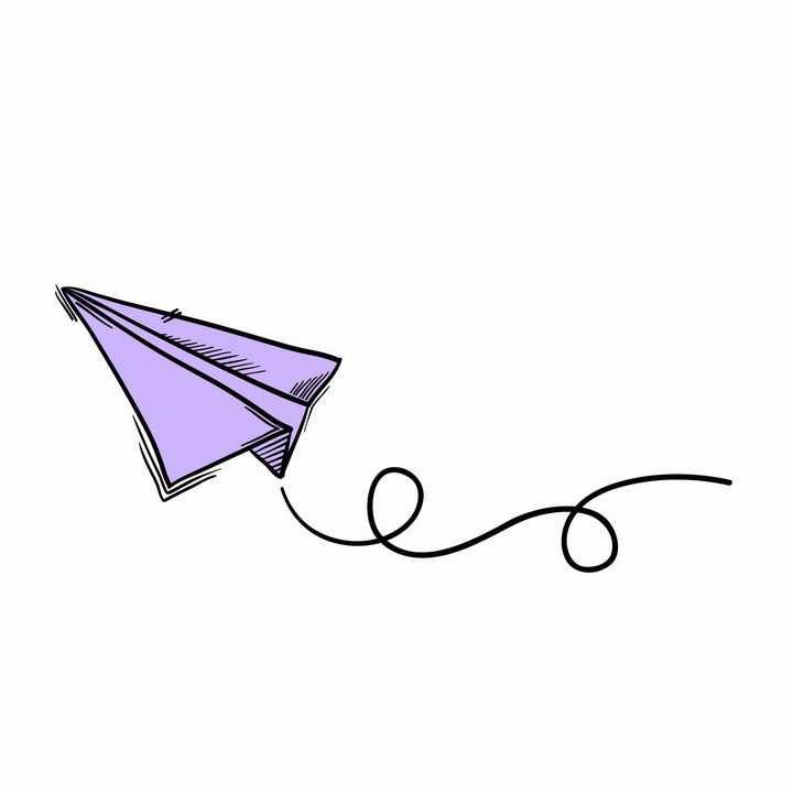 手绘风格紫色纸飞机png图片免抠矢量素材