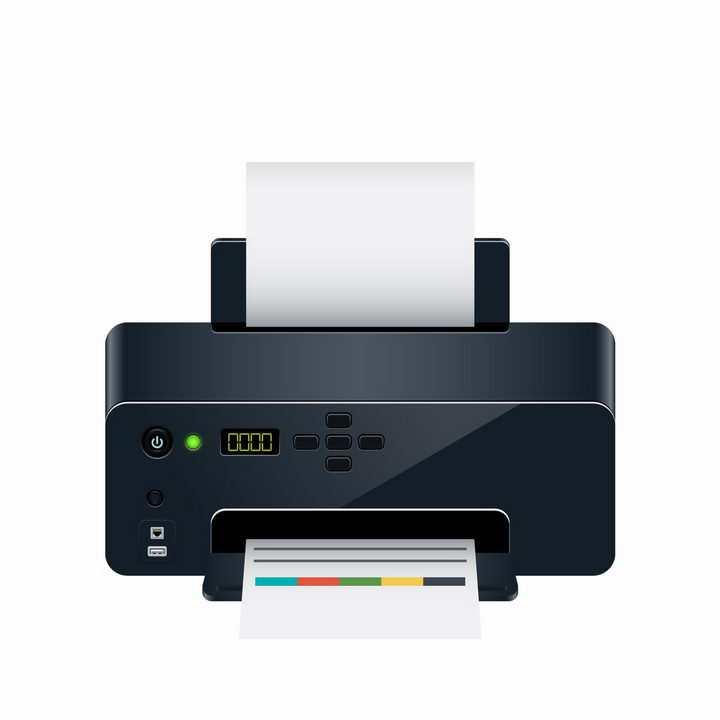 正在打印文件的黑色喷墨打印机png图片免抠eps矢量素材