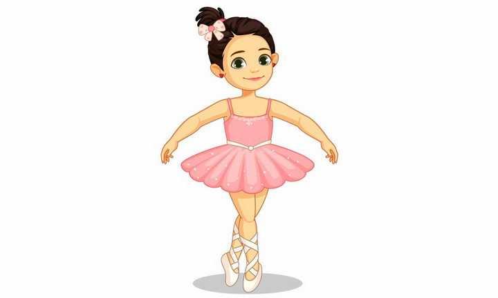 身穿粉色舞服跳芭蕾舞的卡通小女孩png图片免抠矢量素材