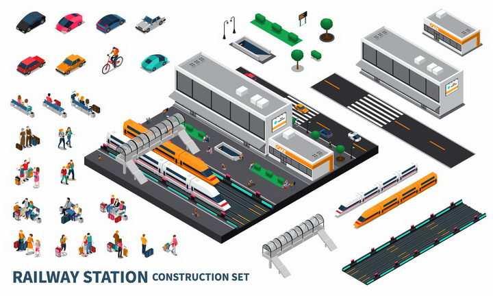 2.5D风格火车站高铁站建筑设施png图片免抠eps矢量素材