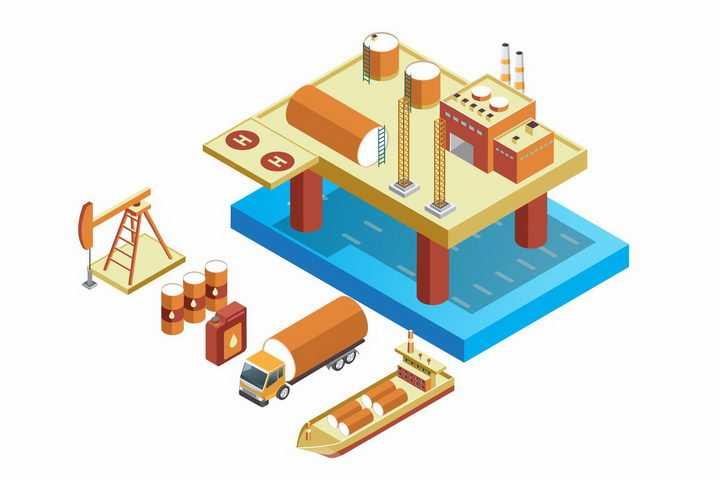 2.5D风格海上钻井平台石油开采石油运输png图片免抠矢量素材