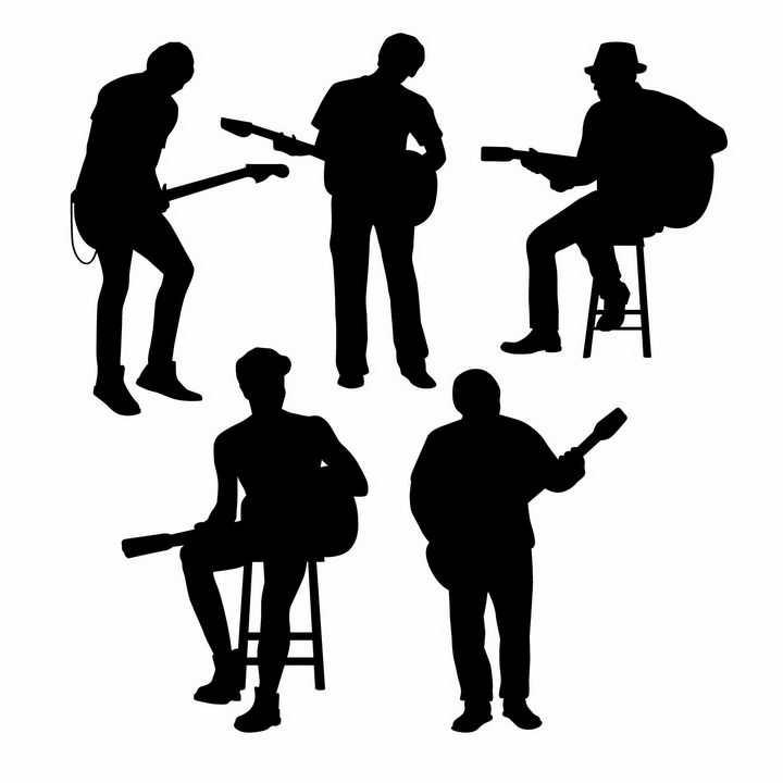 5款正在弹吉他演奏乐器的音乐乐手人物剪影png图片免抠矢量素材