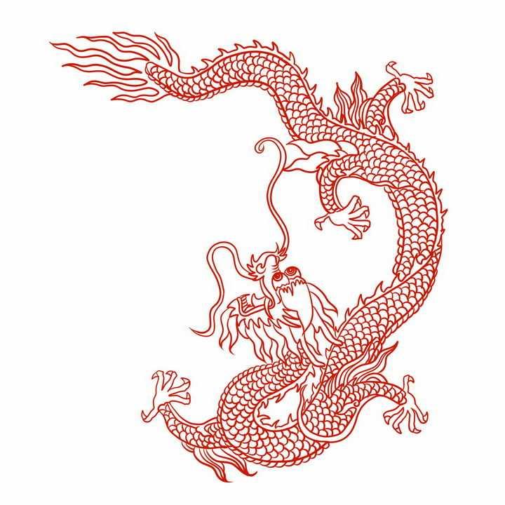 红色线条中国龙图案png图片免抠素材