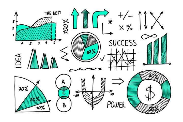 蓝色手绘线条素描风格曲线图箭头饼形图等思维导图元素图片免抠矢量素材