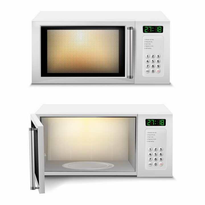 关闭和打开的带数字按键的白色微波炉厨房家用电器png图片免抠矢量素材