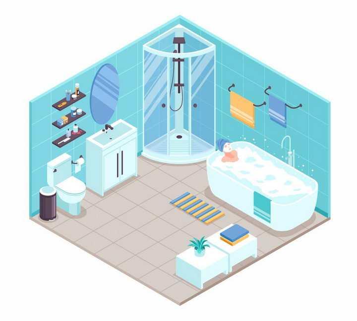 2.5D风格浴缸洗手池淋浴室等淡蓝色简约卫生间装修风格png图片免抠eps矢量素材