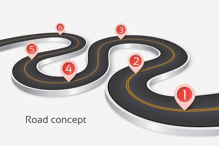 立体风格弯曲的S型黑色公路道路红色定位标志PPT元素图片免抠矢量素材
