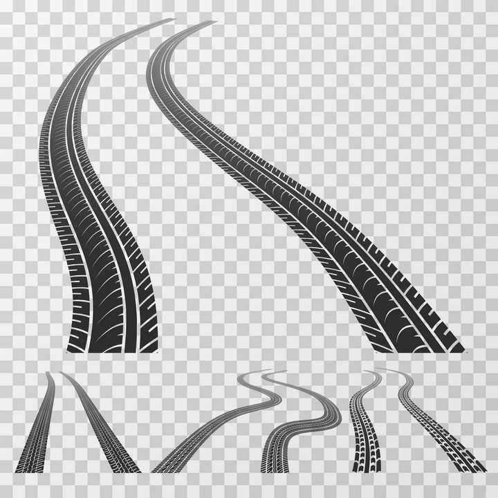 4款不同风格的汽车轮胎印车轮印png图片免抠矢量素材