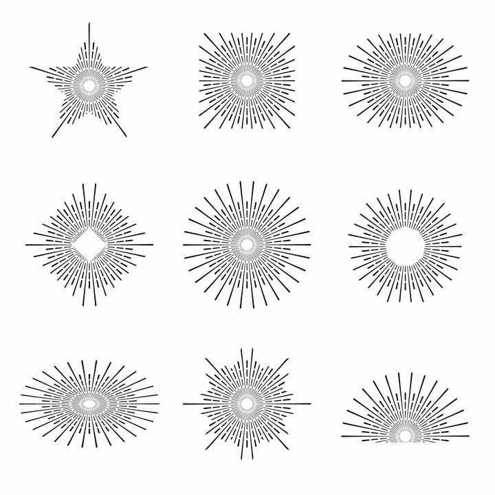 9款五角星圆形半圆形放射线烟花线条图案png图片免抠矢量素材