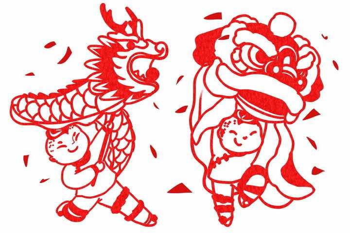 卡通舞龙舞狮子红色剪纸图片png免抠素材