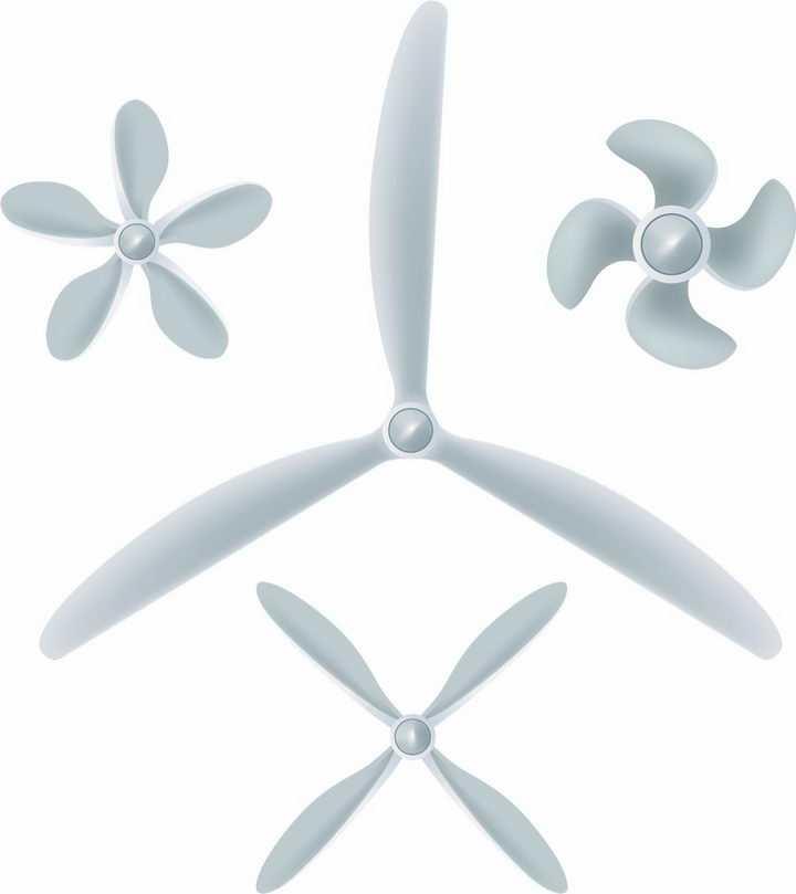 4款飞机轮船风力发电机的螺旋桨桨叶png图片免抠矢量素材