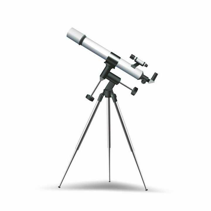 一架银色的天文望远镜天文观测仪器png图片免抠矢量素材